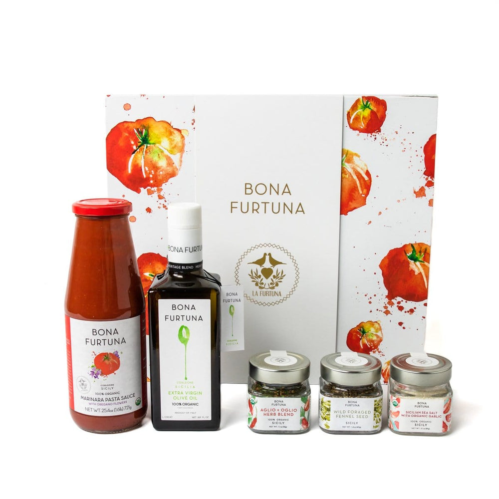 Bona Furtuna The Sfincione - Italian Gift Set with Olive Oil, Marinara Sauce and Pizza Seasonings