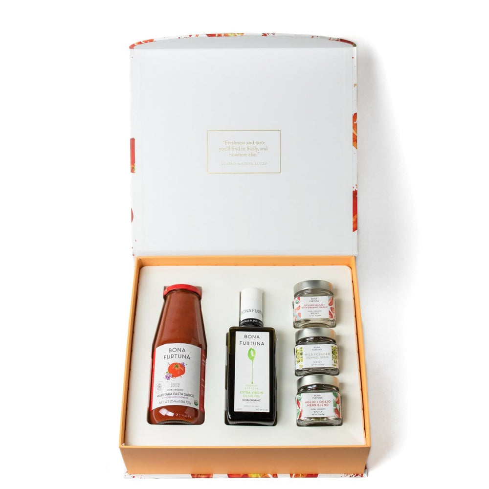 Bona Furtuna The Sfincione - Gourmet Olive Oil Gift Box with Marinara Pasta Sauce and Sicilian Seasonings