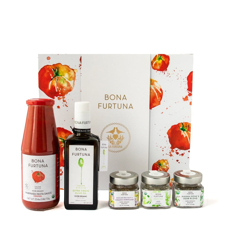 Bona Furtuna The Corleone - Gourmet Sicilian Olive Oil Gift Set with Pasta Sauce and Italian Seasonings