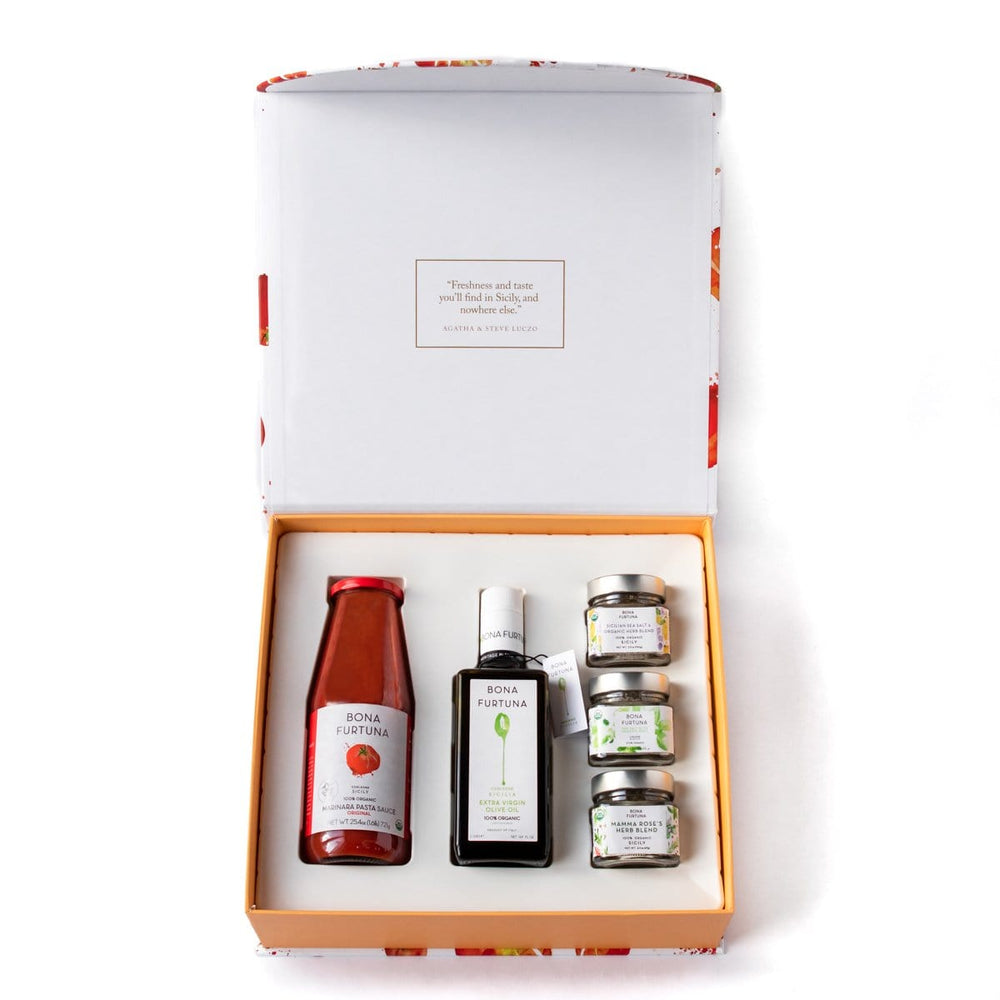 Bona Furtuna The Corleone - Italian Olive Oil Gift Box with Marinara Pasta Sauce and Sicilian Seasonings