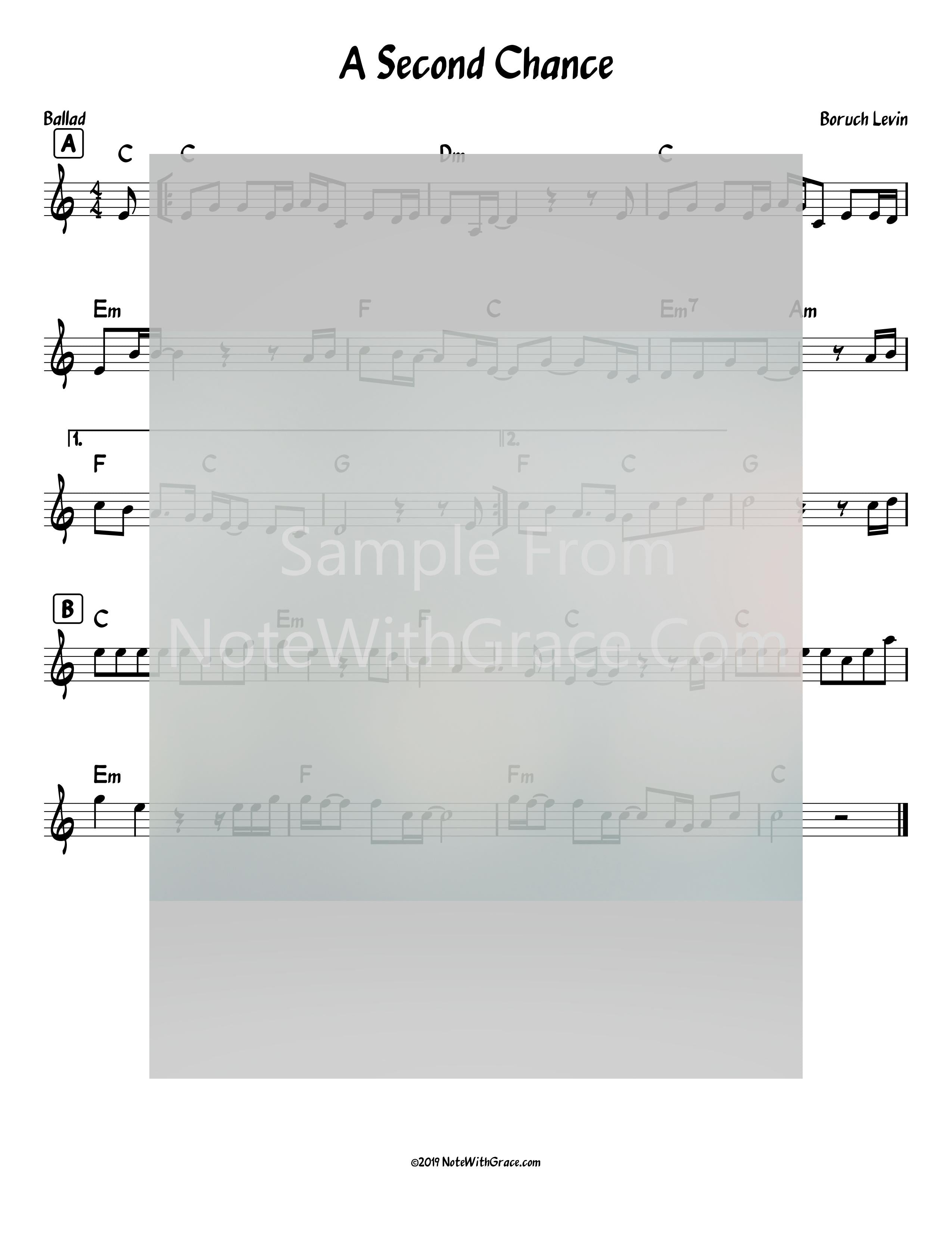 A Second Chance Lead Sheet (Baruch Levine) Album Peduscha Released 2018-Sheet music-NoteWithGrace.com
