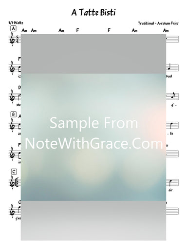 A Tatte Bisti - א טאטע ביסטו Lead Sheet (Traditional - Avrohom Fried) Album Forever One 2010-Sheet music-NoteWithGrace.com