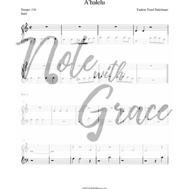 Ahalelu -Includes Simple Bass Clef (Skver)-Sheet music-NoteWithGrace.com