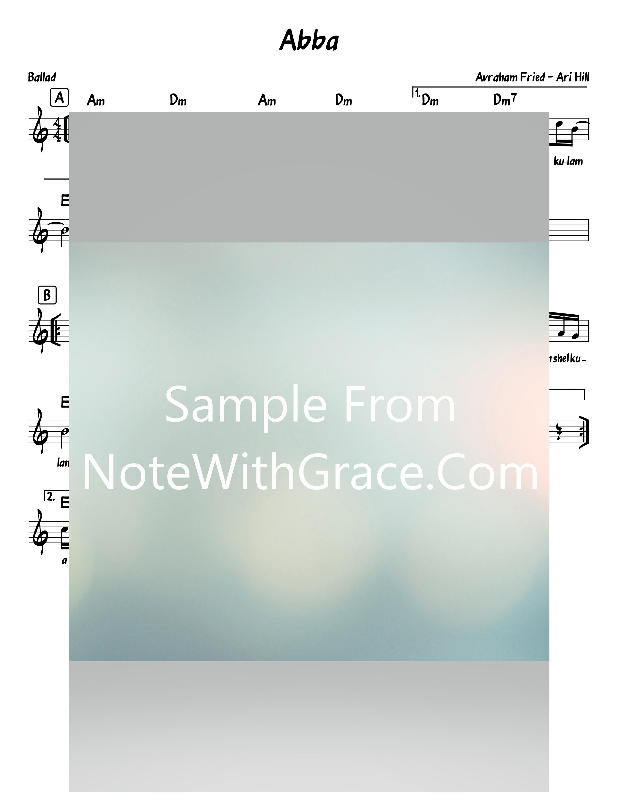 Abba - Tatte Lead Sheet (Avraham Fried - Ari Hill) Album: Single (Released 2019)-Sheet music-NoteWithGrace.com