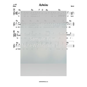 Acheinu Lead Sheet (World)-Sheet music-NoteWithGrace.com