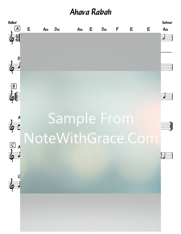 Ahava Raba - אהבה רבה Lead Sheet (Satmar)-Sheet music-NoteWithGrace.com