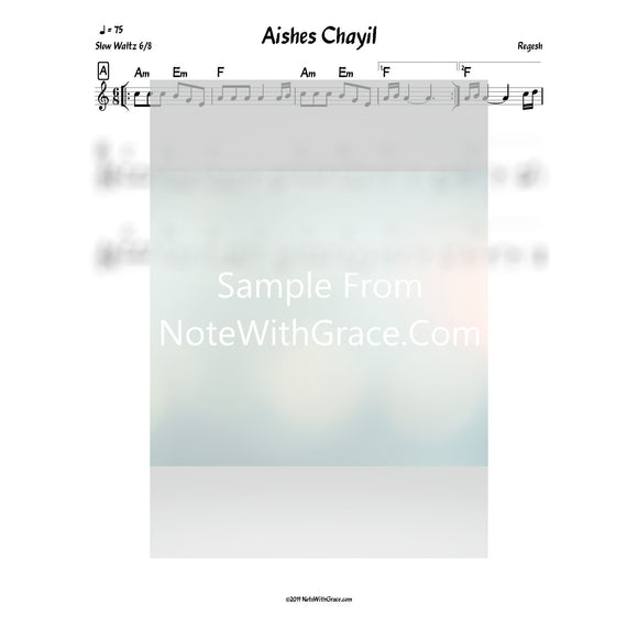 Aishes Chayil Lead Sheet (Abish Brodt) Album: Regesh Gold-Sheet music-NoteWithGrace.com