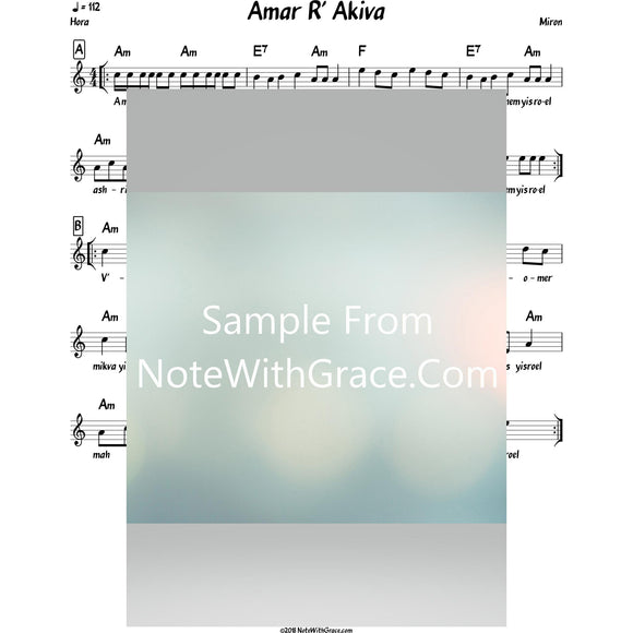 Amar R' Akiva Lead Sheet (Miron)-Sheet music-NoteWithGrace.com