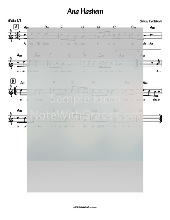 Ana Hashem Lead Sheet (Shlomo Carlbach)-Sheet music-NoteWithGrace.com