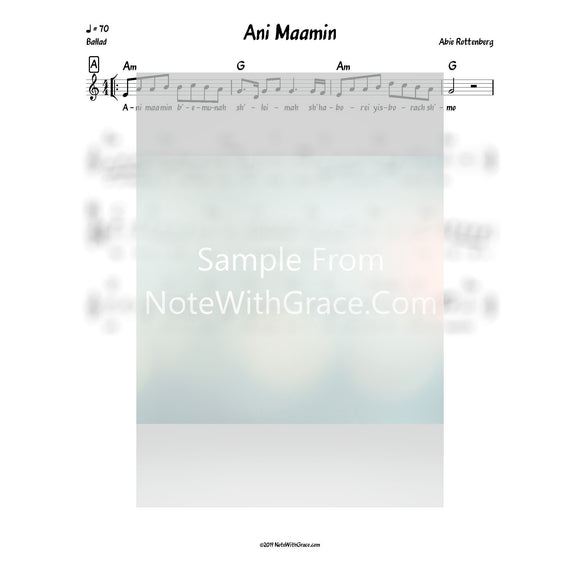 Ani Maamin Lead Sheet (Abie Rottenberg)-Sheet music-NoteWithGrace.com