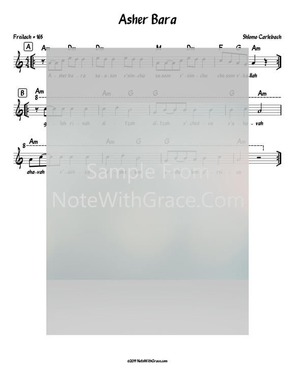 Asher Bara Lead Sheet (Shlomo Carlebach)-Sheet music-NoteWithGrace.com