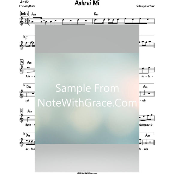 Ashrei Mi Lead Sheet (Shloimy Gertner)-Sheet music-NoteWithGrace.com