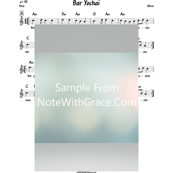 Bar Yochai Lead Sheet (Miron)-Sheet music-NoteWithGrace.com