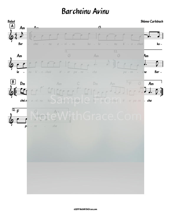 Barcheinu Avinu Lead Sheet (Shlomo Carlebach)-Sheet music-NoteWithGrace.com