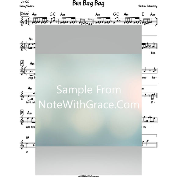 Ben Bag Bag Lead Sheet (Yaakov Schwekey)-Sheet music-NoteWithGrace.com