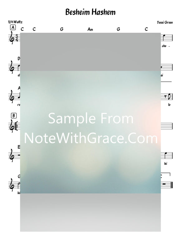 B'sheim Hashem Lead Sheet (Yossi Green) Sung By Shloimy Dask Relax 2-Sheet music-NoteWithGrace.com