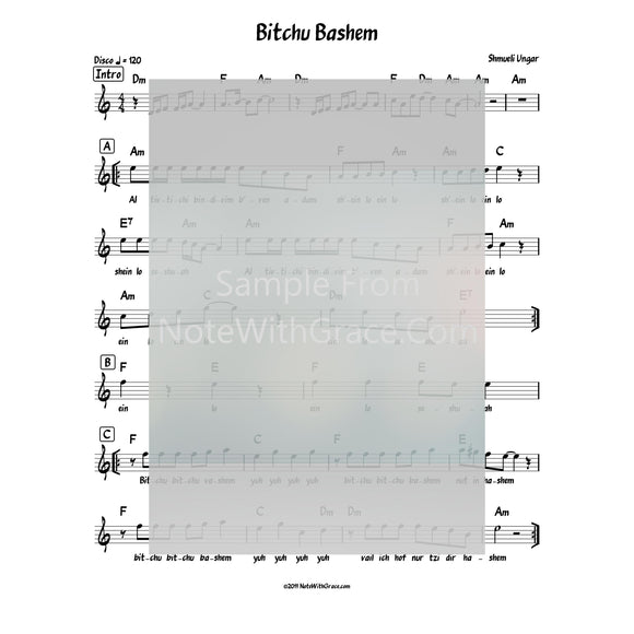 Bitchu Bashem Lead Sheet (Shmueli Ungar) Single: 2018-Sheet music-NoteWithGrace.com