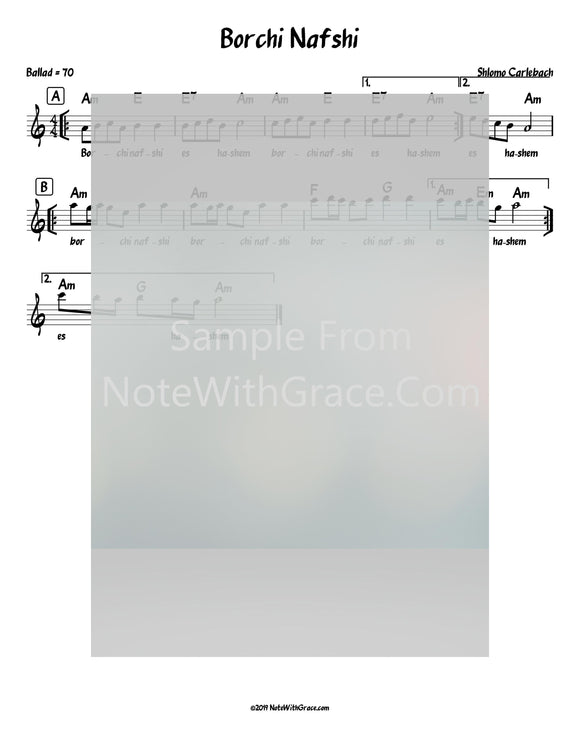 Borchi Nafshi Lead Sheet (Shlomo Carlebach)-Sheet music-NoteWithGrace.com