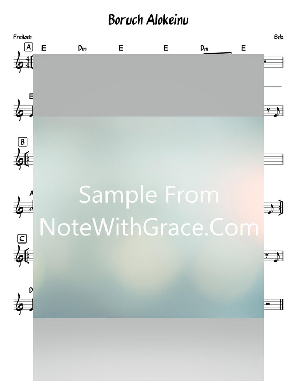 Baruch Elokeinu - ברוך אלוקינו Lead Sheet (Belz)-Sheet music-NoteWithGrace.com