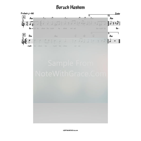 Baruch Hashem Lead Sheet (Zusha) Album: Baruch Hashem-Sheet music-NoteWithGrace.com