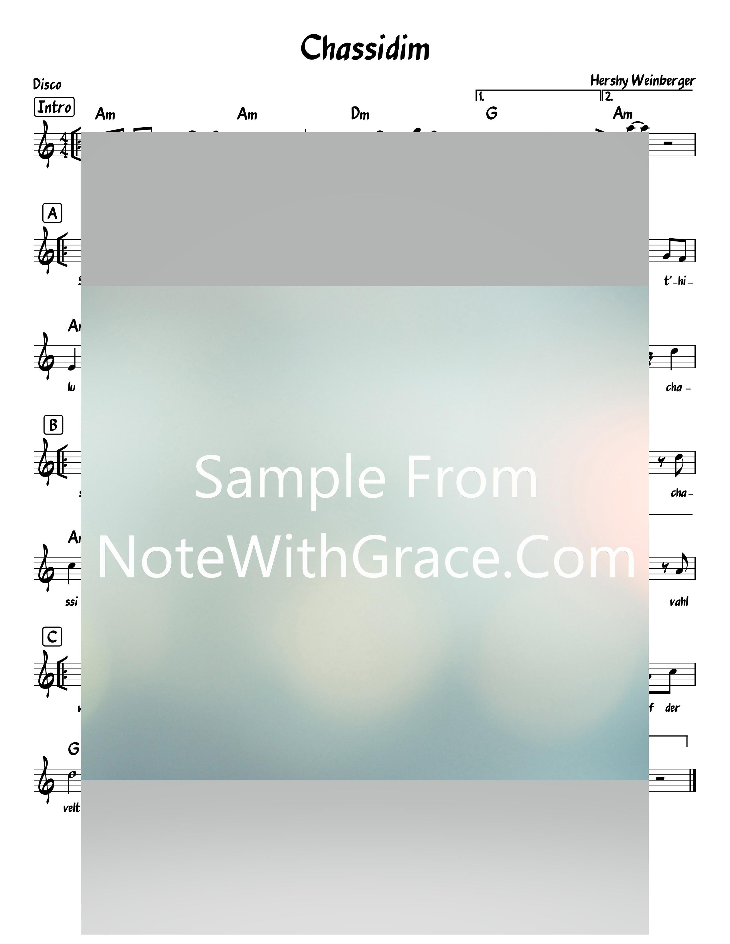 Chassidim - חסידים Lead Sheet (Hershy Wienberger) L'chaim Chassidim 2019-Sheet music-NoteWithGrace.com