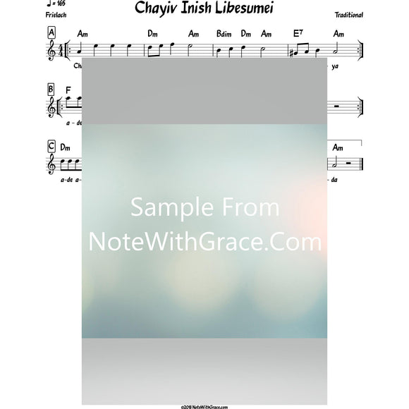 Chayiv Inish Libesumei Lead Sheet (Traditional) Purim-Sheet music-NoteWithGrace.com