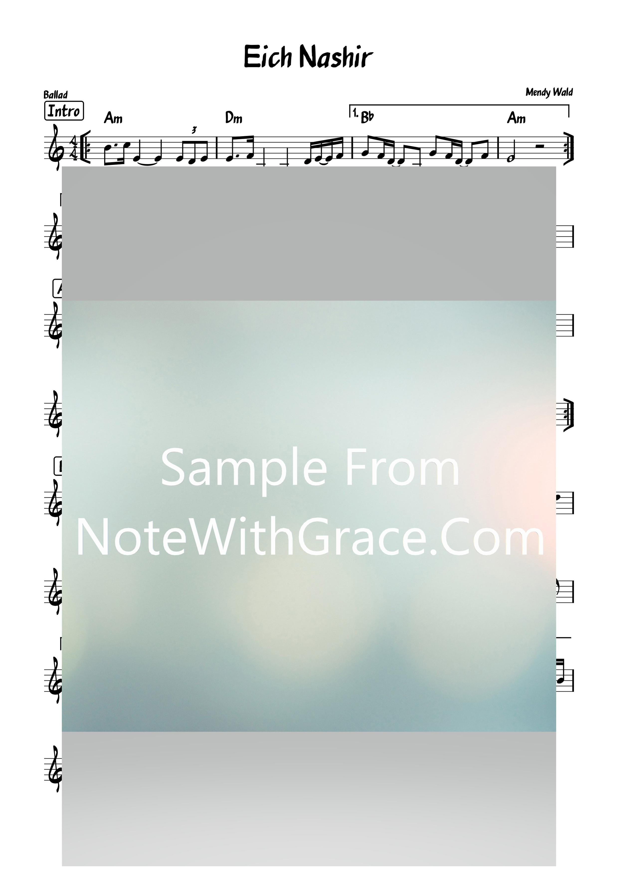 Eich Nashir - איך נשיר Lead Sheet (Mendy Wald/Yitzy Bald) Album: Sameach 2010-Sheet music-NoteWithGrace.com