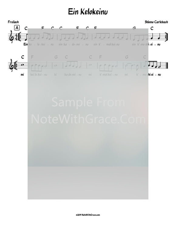 Ein Kelokeinu Lead Sheet (Shlomo Carlebach)-Sheet music-NoteWithGrace.com