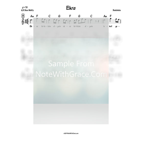 Ekra Lead Sheet (Shalsheles) Shalsheles Junior Released 2005-Sheet music-NoteWithGrace.com