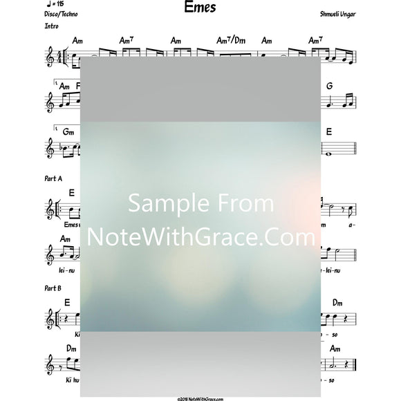 Emes Lead Sheet (Shmueli Ungar)-Sheet music-NoteWithGrace.com
