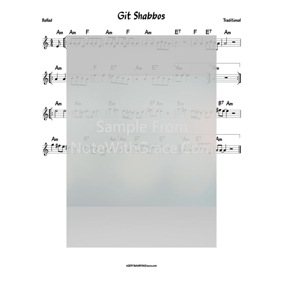 Git Shabbos Lead Sheet (Traditional)-Sheet music-NoteWithGrace.com