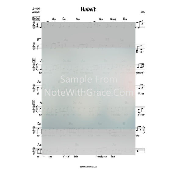 Habeit (Elokim Tzvokos Shuv Na) Lead Sheet (MBD) Album: We Are One Released 1999-Sheet music-NoteWithGrace.com