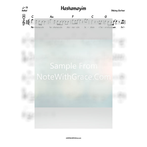 Hashamayim Lead Sheet (Shloimy Gertner) Album: Say Asay Released 2014-Sheet music-NoteWithGrace.com