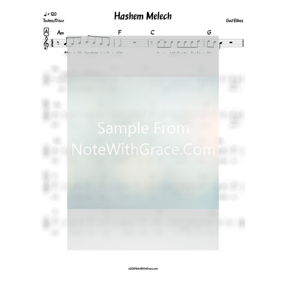 Hashem Melech Lead Sheet (Gad Elbaz)-Sheet music-NoteWithGrace.com