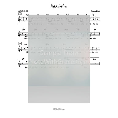 Hashiveinu Lead Sheet (Yehuda Green) Album: Yearning 2010-Sheet music-NoteWithGrace.com