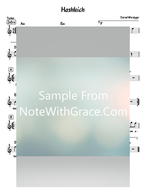 Hashleich - השלך Lead Sheet (Yisroel Werdyger) Album Du Voint A Yid 2019-Sheet music-NoteWithGrace.com