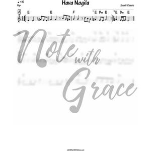 Hava Nagila Lead Sheet (Israeli Folk Song)-Sheet music-NoteWithGrace.com