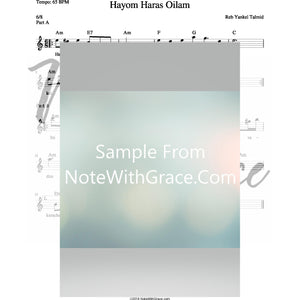 Hayom Haras Oilam Lead Sheet (Reb Yankel Talmid)-Sheet music-NoteWithGrace.com