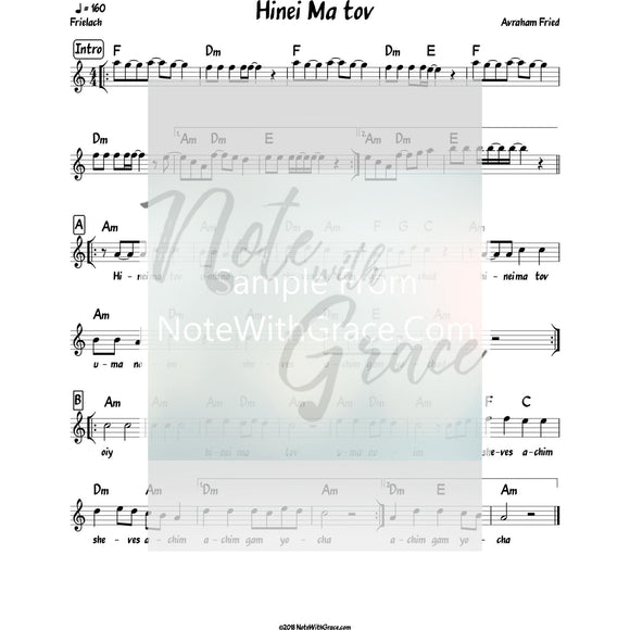 Hinei Ma Tov Lead Sheet (Avraham Fried) Album: Aderaba 2010-Sheet music-NoteWithGrace.com