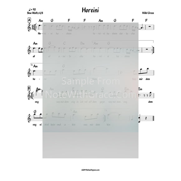 Horeini Lead Sheet (Hillel Gross) Single Released 2017-Sheet music-NoteWithGrace.com