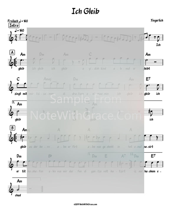Ich Gleib Lead Sheet (Yingerlach) Album: Yingerlich Released 2018-Sheet music-NoteWithGrace.com