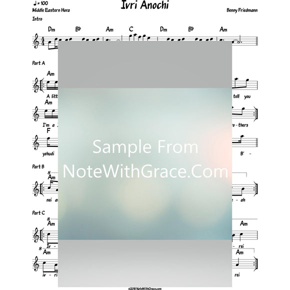 Ivri Anoichi Lead Sheet (Benny Friedman) Album Fill The World With Light 2016-Sheet music-NoteWithGrace.com