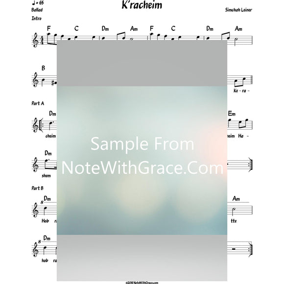 K'racheim Lead Sheet (Simchah Leiner) Album: Live In Odessa-Sheet music-NoteWithGrace.com