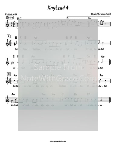 Keitzad Merakdim Lead Sheet (Avraham Fried) Album: Aderaba 2010-Sheet music-NoteWithGrace.com