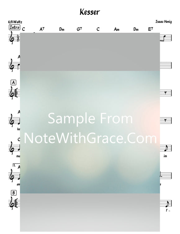 Kesser Yitni Lechu - כתר יתנו לך Lead Sheet (Isaac Honig) Album Al Hehurim 2013-Sheet music-NoteWithGrace.com