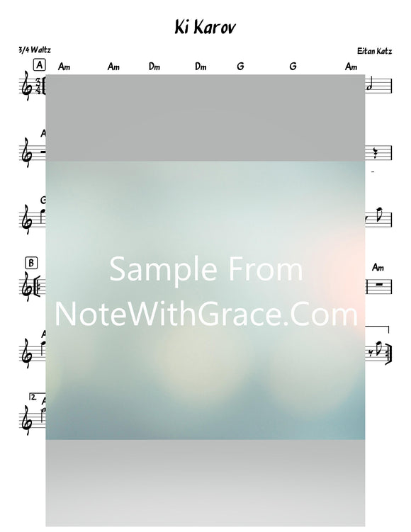 Ki Karov - כי קרוב Lead or TAB Sheet (Eitan Katz - איתן כ״ץ) Released 2020-Sheet music-NoteWithGrace.com