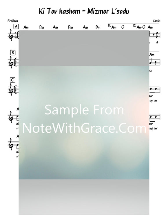 Mizmor L'sodu - Ki Tov Hashem מזמור לתודה Lead Sheet (Karlin) Reintroduced 2019-Sheet music-NoteWithGrace.com