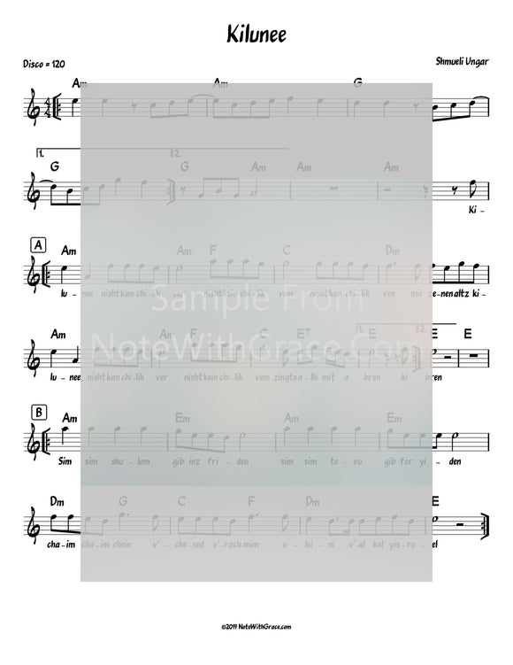 Kilunee Lead Sheet (Shmueli Ungar) Album: Single 2019-Sheet music-NoteWithGrace.com