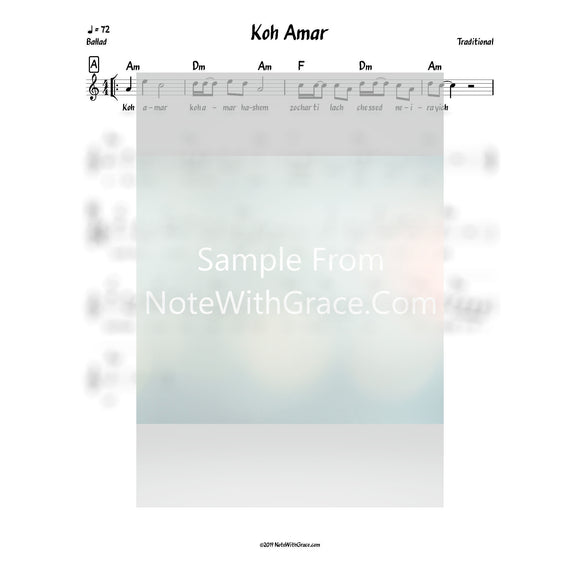 Koh Amar Lead Sheet (Traditional)-Sheet music-NoteWithGrace.com