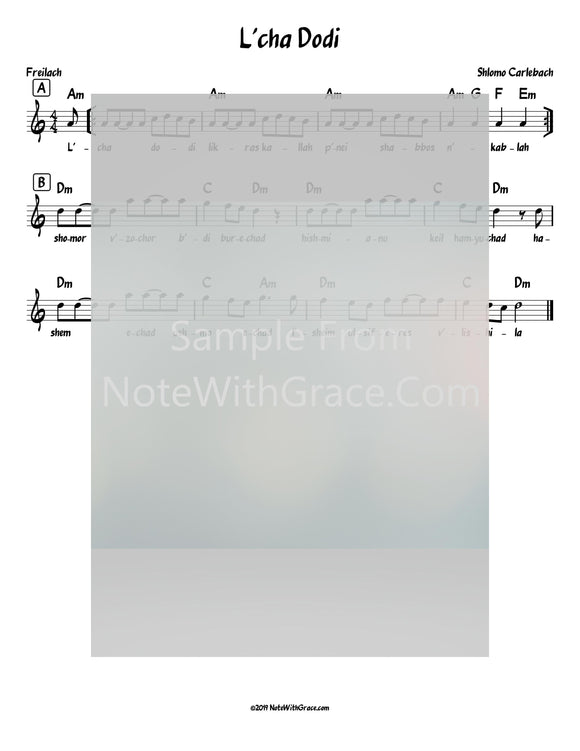 L'cha Dodi Lead Sheet (Shlomo Carlebach)-Sheet music-NoteWithGrace.com
